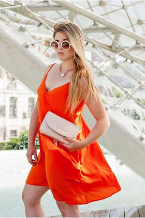 peach clutch ted baker bag - carrot orange asymetric Mohito dress