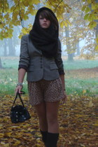 dark khaki checked Mexx jacket - black leather Deichmann shoes