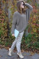 dark khaki oversized Bershka jumper - gold stylowebutki boots