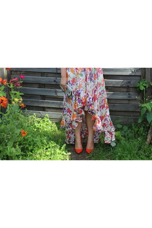 orange Zara heels - orange River Island dress - aquamarine Accesorize bag