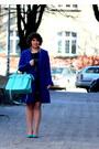 Dark-brown-mango-dress-navy-wallis-coat-aquamarine-sabrina-pilewicz-bag