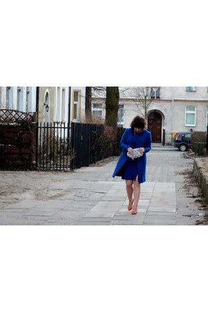 navy Zara dress - navy Wallis coat - carrot orange Zara heels