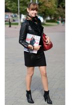 black no brand shoes - black Oasis dress - black Karn Millen jacket - red Karn M