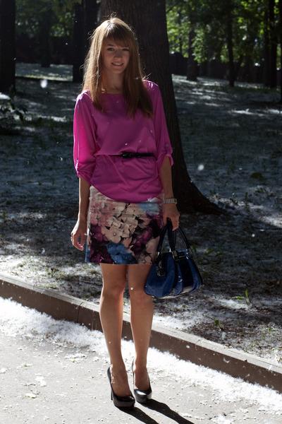 blue karen millen bag - light pink karen millen skirt - bubble gum Zara top