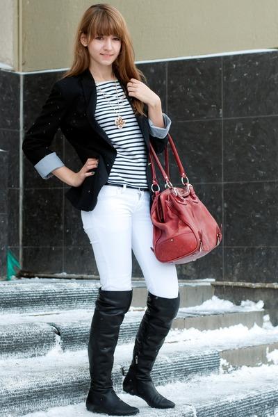 Black El Monte Boots, White Stradivarius Jeans, Red Karen Millen ...