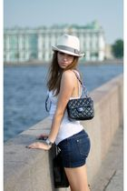 white Oysho t-shirt - blue no brand shorts - black Chanel purse - black Aldo sho