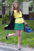 black Dolce and Gabbana shoes - blue karen millen bag - yellow Zara top