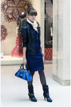 blue karen millen dress - blue karen millen purse - black MORGAN shoes - black M