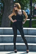 black El Monte shoes - black no brand leggings - black H&M top
