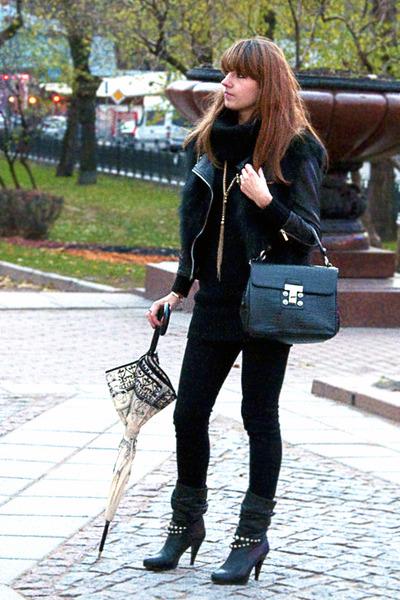 black no brand vest - black karen millen jacket - black Mexx sweater - black Top