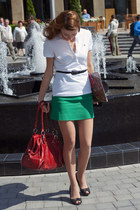 red karen millen bag - green Zara skirt - white Lacoste top
