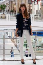 purple karen millen top - white Stradivarius jeans - black Zara jacket - black D