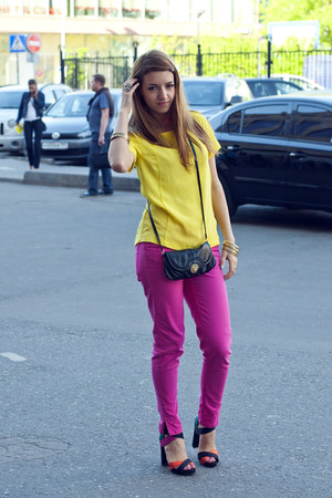 carrot orange Zara heels - black Accessorize purse - hot pink Zara pants