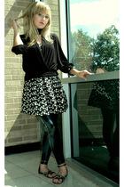 black Forever21 bracelet - black Younkers shoes - white Forever21 dress