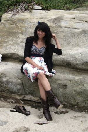 dress - boots - cardigan