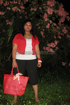 red bolero Bossini blazer - red korea bag - black cropped pants Old Navy shorts