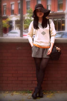 beige H&M sweater - gray Costa Blanca shorts - black Urban Outfitters bag - blac