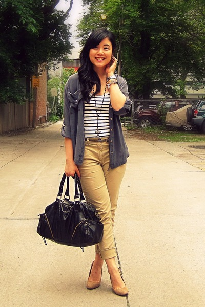 black Urban Outfitters bag - camel H&M pants - white striped H&M top - charcoal