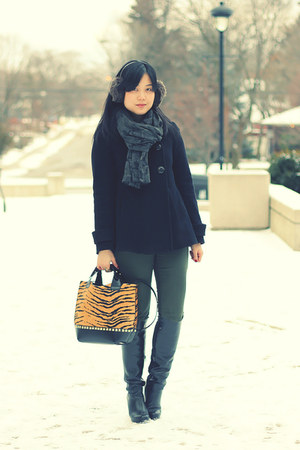 leopard Zara bag - black Aldo boots - black double-breasted Zara coat
