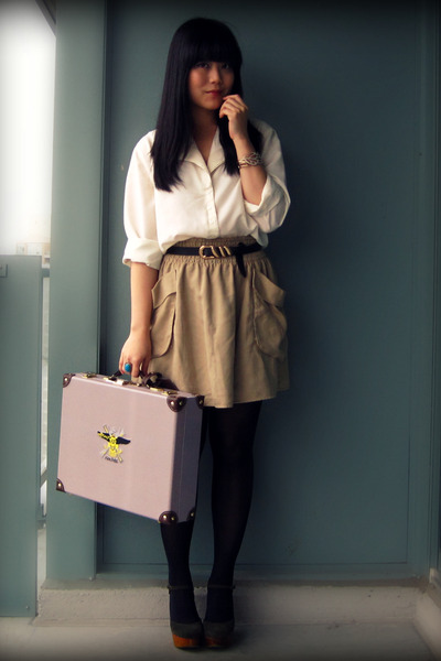 ivory blouse - dark khaki H&M skirt - olive green Jeffrey Campbell shoes - gray