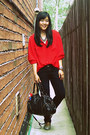 Navy-seven7-jeans-black-urban-outfitters-bag-red-thrifted-blouse