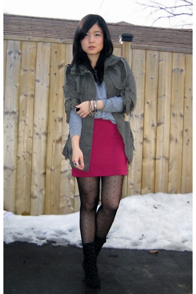 gray American Apparel sweater - green Forever 21 jacket - pink H&M skirt - black