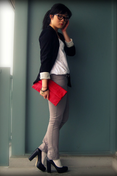 red Local Boutique bag - heather gray Zara jeans - black Zara blazer