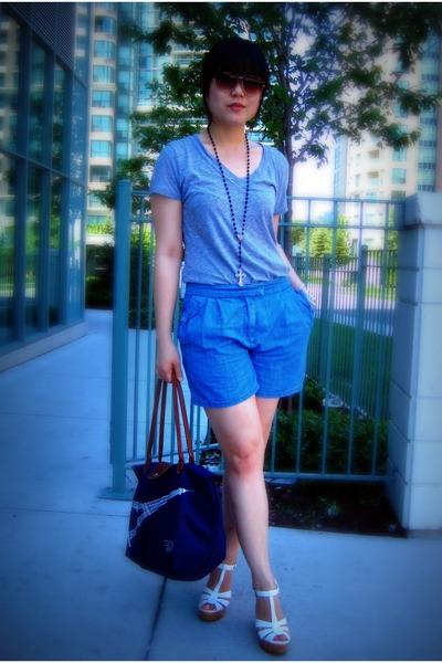white Forever 21 shoes - blue longchamp bag - blue H&M shorts