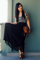 brown the sak bag - green multicolor H&M blouse - black H&M skirt - dark brown A