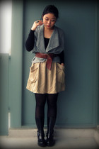 black Forever 21 top - light blue cardigan - camel H&M skirt - black Cougar Shoe