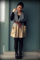 black Forever 21 top - light blue cardigan - camel H&M skirt - black Cougar Shoe