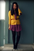 mustard Zara cardigan - purple Urban Outfitters dress - black Aldo shoes - brown