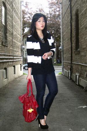 black striped H&M blazer - black Dolce Vita shoes - blue Forever 21 jeans