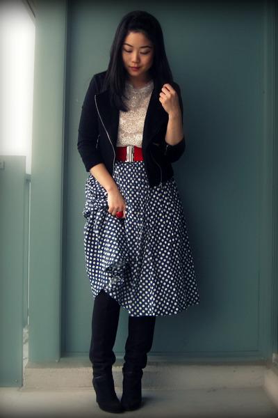 black Nine West boots - black Forever 21 jacket - blue skirt - white Forever 21