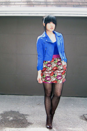 blue H&M jacket - blue Forever 21 top - pink Forever 21 skirt - black H&M stocki