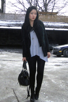 black Forever 21 jacket - black Forever 21 vest - gray Bluenotes top - black Ald