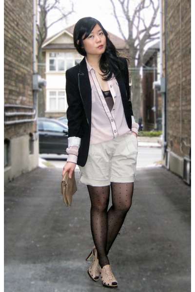 black Zara blazer - pink Zara blouse - black Ebay tights - beige River Island sh