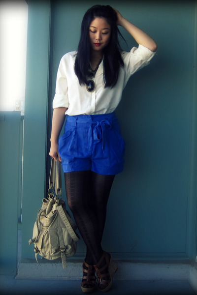 white blouse - blue H&M shorts - beige Urban Outfitters bag - black Ardene tight