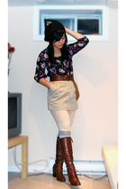 black H&M blouse - beige Jacob skirt - brown Topshop belt - brown Tommy Hilfiger