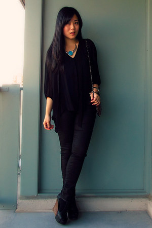 black parasuco jeans - gold Mango bag - turquoise blue Forever 21 necklace