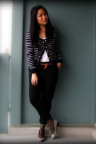 blue Zara cardigan - white Forever 21 top - black joe fresh style pants - brown