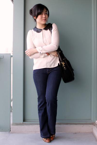 navy parasuco jeans - black Oasapcom bag - off white UniQUEEN blouse