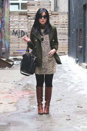 army green Old Navy coat - brown Aldo boots - leopard print J Crew dress