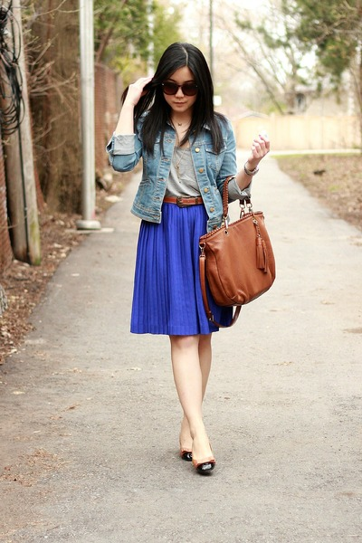 blue banana republic skirt - light brown yeswalker shoes - light blue H&M jacket