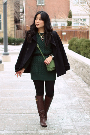 forest green OASAP sweater - dark brown winners boots - black Zara coat