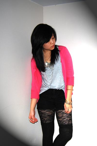 silver Ardene & Forever21 accessories - pink H&M jacket - black Ardene tights