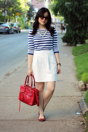 white Loft skirt - blue striped Loft sweater - red mini mab Rebecca Minkoff bag