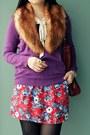 Purple-joe-fresh-style-sweater-tawny-faux-fur-stole-h-m-scarf