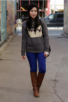 dark gray Urban Outfitters sweater - brown Aldo boots - blue jeans