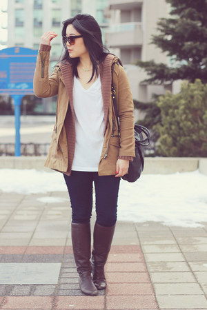 navy Old Navy jeans - dark brown Report boots - camel Zara jacket